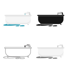 Bathtub icon in cartoon style isolated on white vector