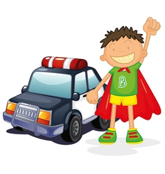 Boy and car vector image vector image