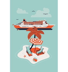 Cruise Ship and an Island vector image