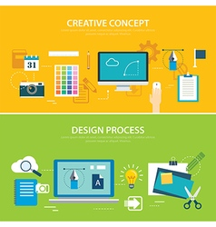 design process and creative concept banner vector image vector image