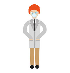 Doctor with mask coat clinic vector