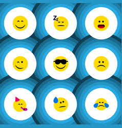 Flat icon expression set of asleep happy party vector