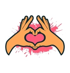 Hand making heart sign Heart shape hand vector image vector image