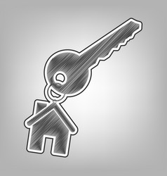 Key with keychain as an house sign pencil vector