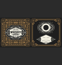 Liquor label with design elements vector