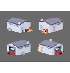 Low poly white garage and red car vector
