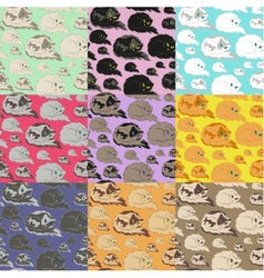 Lying cat seamless pattern vector