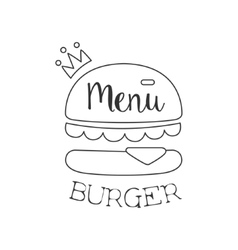 Monochrome Burger Premium Quality Fast Food Street vector image vector image