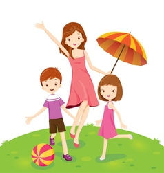 Mother Son And Daughter Enjoying In Park vector image vector image