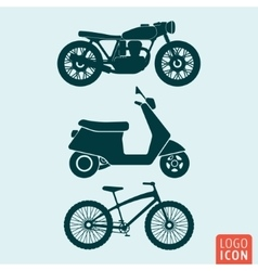 Motorcycle scooter bicycle icon isolated vector image