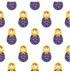 nesting doll matryoshka seamless pattern vector image