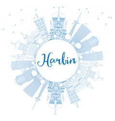 Outline harbin skyline with blue buildings vector