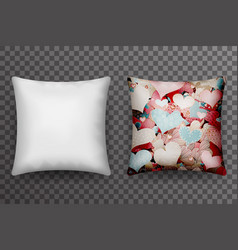 Realistic 3d soft pillow sleep transparent vector