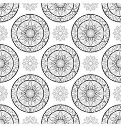 Seamless floral pattern Black and white Coloring vector image