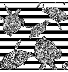 seamless monochrome pattern with turtles vector image vector image