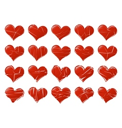 Set of broken hearts shape classic Fall out of vector image