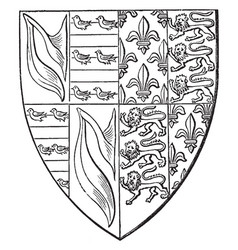 Shield of john de hastings are impaling france vector