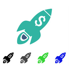 Startup rocket launch flat icon vector