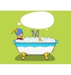 Superhero takes a bath comic vector
