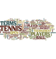 Tennis terms text background word cloud concept vector