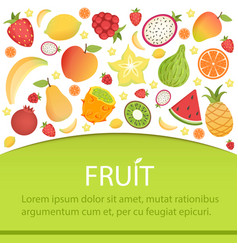 tropical fruits banner summer background with vector image