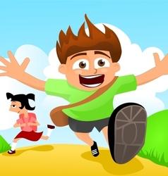 Two happy kids running to school vector image vector image
