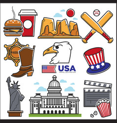 usa america culture and amercian travel landmarks vector image vector image