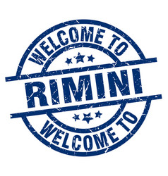 welcome to rimini blue stamp vector image vector image