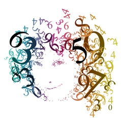 woman with numbers vector image vector image