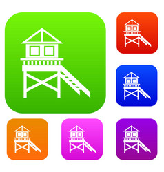 Wooden stilt house set collection vector