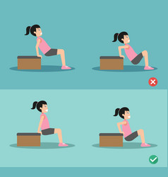 wrong and right tricep dip posture vector image vector image