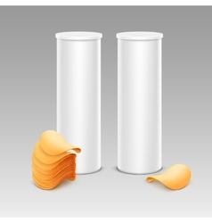 Set of white container with stack potato chips vector