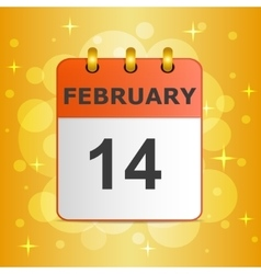 Calendar icon 14 february on festive colorful vector