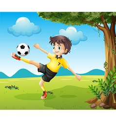 A boy playing soccer at the hill near the big tree vector image