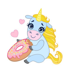 Cartoon light blue lovely unicorn holding pink vector
