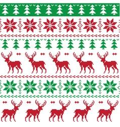Nordic seamless pattern deer and christmas tree vector image