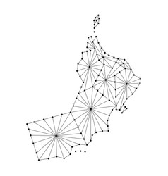 Oman map of polygonal mosaic lines network rays vector