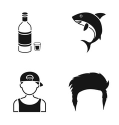 Alcohol a shark and other web icon in black style vector