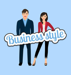 Happy couple in business style clothing vector