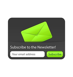 Subcribe to newsletter website element with green vector