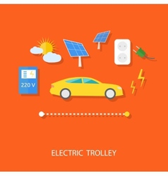 Eco concept of electric trolley and eco energy vector