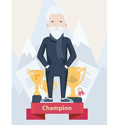 Old man on a winners podium in sport vector