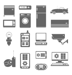 Internet things icons set black vector image