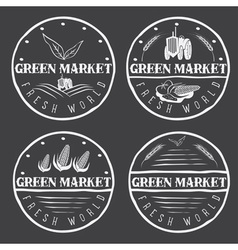 Set of vintage labels of green market with tractor vector