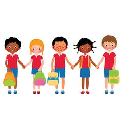 Group of children students in school uniforms vector