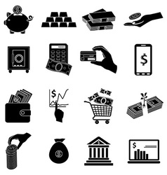 Business money icons set vector