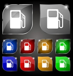 Auto gas station icon sign set of ten colorful vector