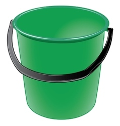 Green plastic bucket with a black handle vector