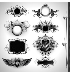 medieval heraldry shields vector image