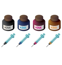 Bottles of color ink and syringes for cartridge vector